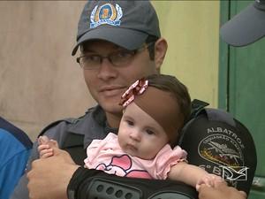 Soldado Renato salvou Lara, de 4 meses, em São Luís (Foto: Reprodução/TV Mirante)