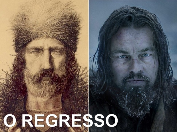 À esquerda, o explorador Hugh Glass (1783-1833), e, à dir., Leonardo DiCaprio em 'O regresso' (Foto: Divulgação)