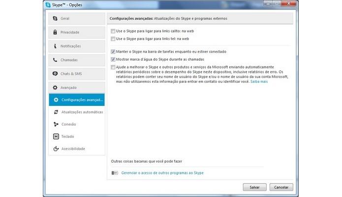 Configurações avançadas do Skype (Foto: Reprodução/Raquel Freire)