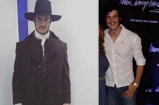 Mateus Solano caracterizado como Rubião e o ator em pré-estreia no Rio (Foto: Reprodução/Instagram e Ag News)