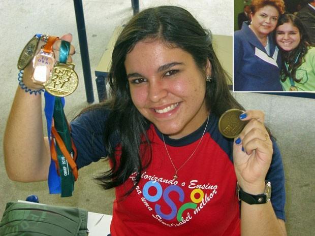 Marielle Camargo dos Santos, de 16 anos, já recebeu medalha até da presidente Dilma (Foto: Vanessa Fajardo/G1)