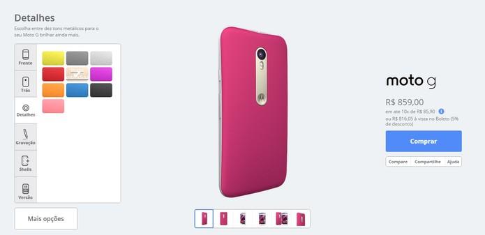 Escolha a cor dos detalhes do seu aparelho (Foto: Reprodução/Motorola)