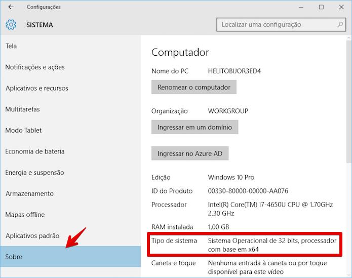 Verificando a versão do Windows 10 (Foto: Reprodução/Helito Bijora)