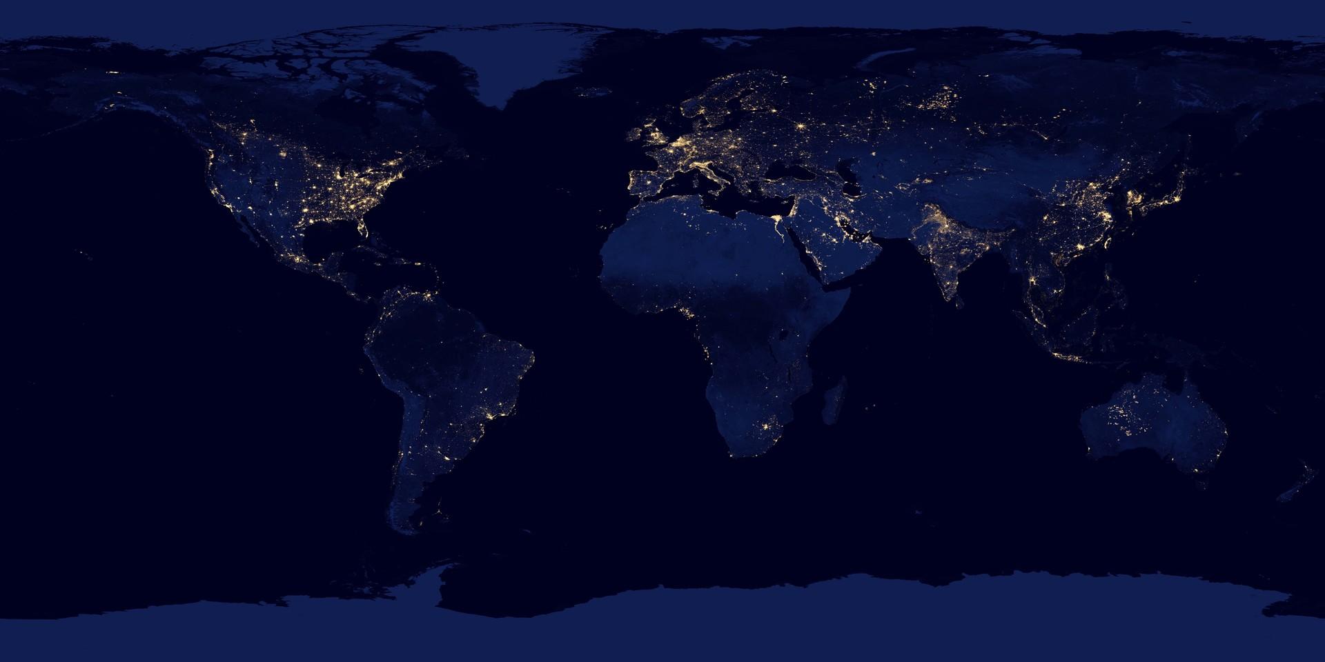 A poluição luminosa provoca diversos impactos negativos. Precisamos mesmo de tanta luz? (Foto: NASA Earth Observatory/NOAA-NGDC)