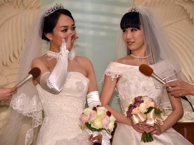 Atrizes pediram lelgalização do casamento homoafetivo no Japão (Foto: Yoshikazu Tsuno / AFP)