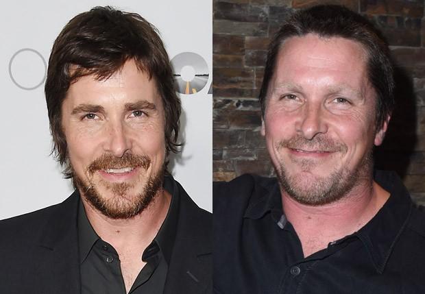 Christian Bale em abril e em setembro de 2017 (Foto: Getty Images)