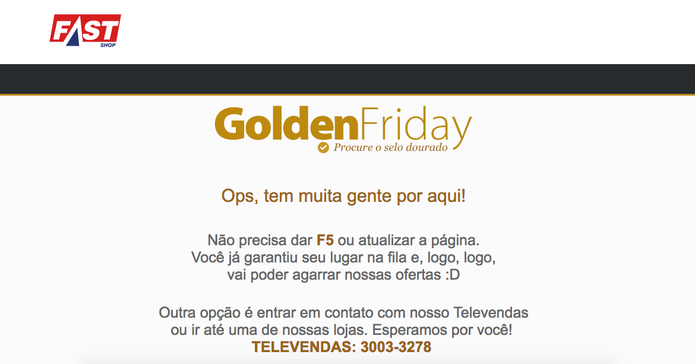 Golden Friday da Fash Shop enfrentou problemas e site ficou fora do ar (Foto: Reprodução/FastShop)