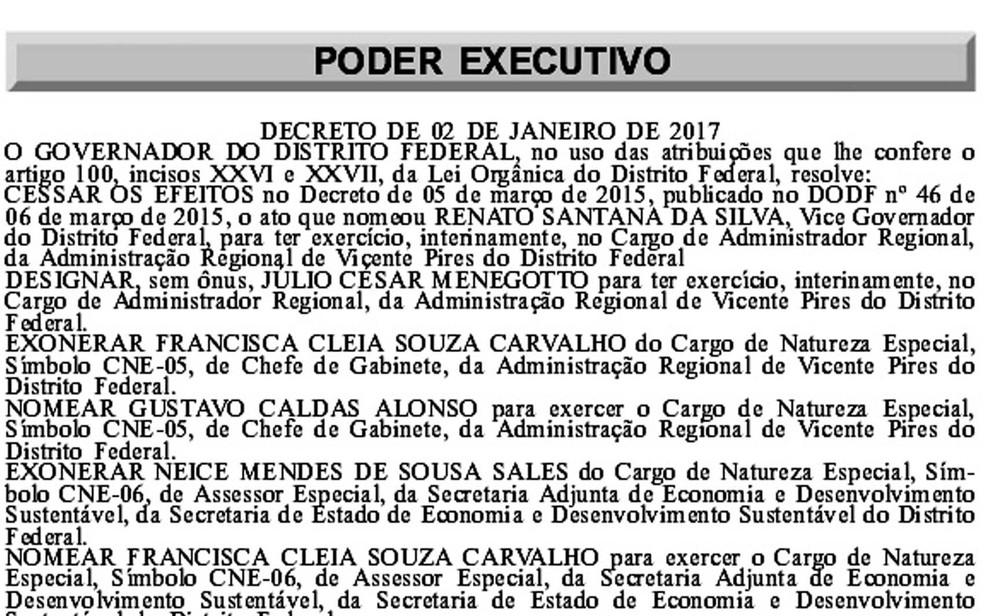 Exoneração de Renato Santana publicada no Diário Oficial (Foto: Reprodução)