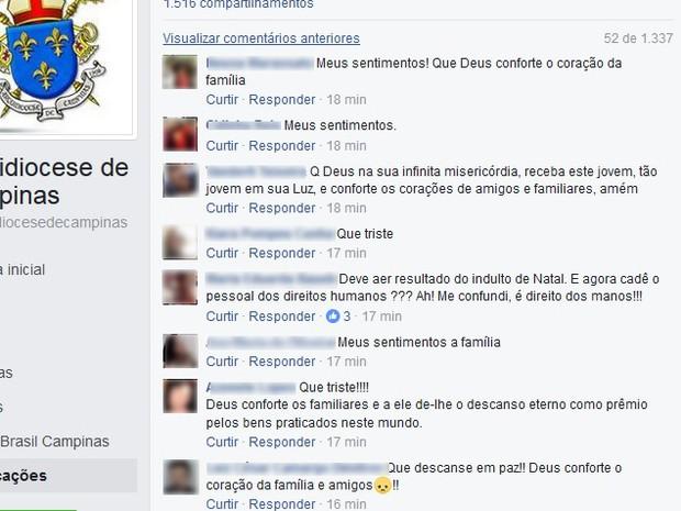 Post publicado pela Arquidiocese de Campinas foi compartilhado pelos fiéis (Foto: Reprodução/ Facebook)