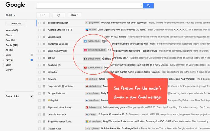 Extensão Sender Icons facilita identificação de e-mails no Gmail (Foto: Divulgação/Digital Inspiration)