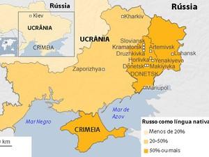 Mapa mostra cidades afetadas por movimentos separatistas na Ucrânia (Foto: BBC)
