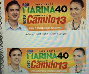 Adesivos relacionam Camilo Santana, candidato do PT no Ceará, com Marina Silva (PSB) (Foto: Reprodução)