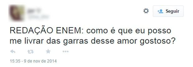 Candidata sugere tema mais romântico para a redação do Enem (Foto: Reprodução/Twitter/hey_jhor)