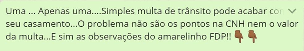 Mensagem no WhatsApp sobre multa em Santo André (Foto: Reprodução/ WhatsApp)