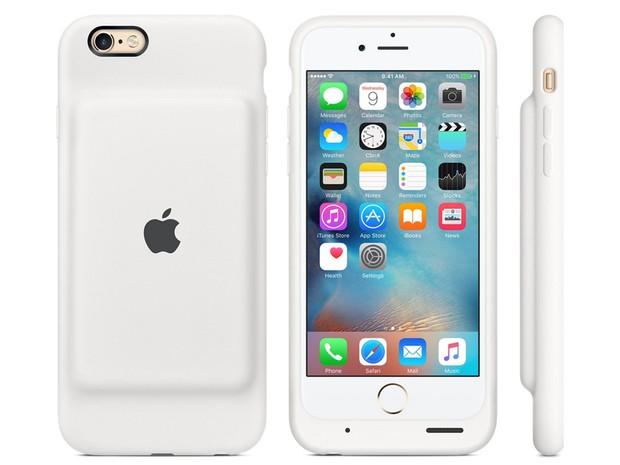 Capinha da Apple para iPhone 6 e iPhone 6s carrega dá a aparelhos mais 25 horas de funcionamento. (Foto: Reprodução/Apple)
