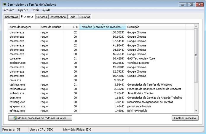Consumo de memória dos processos em execução no Windows (Foto: Reprodução/Raquel Freire)