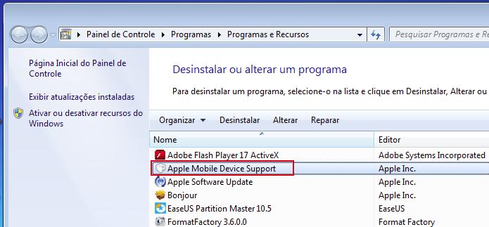 Verificando se o Apple Mobile Device Support está instalado (Foto: Reprodução/Edivaldo Brito)