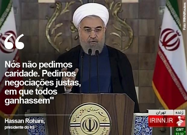 Hassan Rouhani fala sobre o acordo sobre o programa nuclear (Foto: IRINN/Reuters)