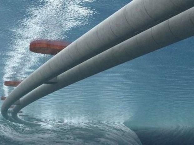Engenheiros projetaram dois túneis flutuantes  (Foto: Governo da Noruega/Vianova/BBC)