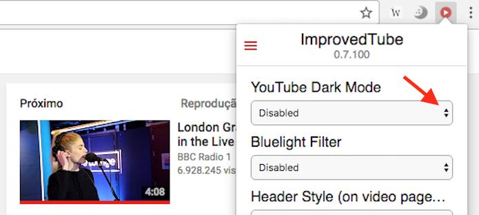 Caminho para acessar as opções para o  DarkMode do YouTube da extensão ImprovedTube (Foto: Reprodução/Marvin Costa)