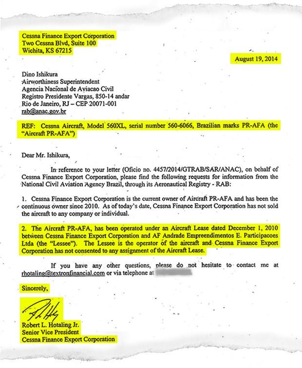 Carta a Cessna Finance Export Corporation (Foto: reprodução)