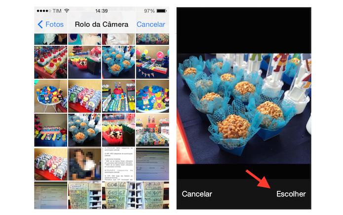 Escolhendo uma foto do iPhone para ser anexada a uma nova mensagem do Mail (Foto: Reprodução/Marvin Costa)
