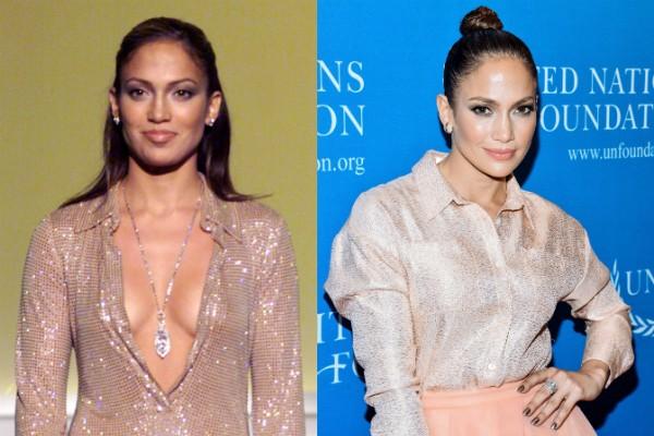 Jennifer Lopez durante show em 1996 e em 2015 (Foto: Getty Images/Divulgação)
