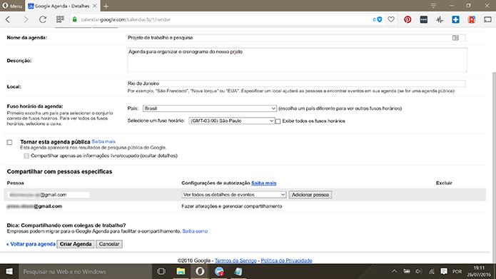 Google Calendar exige que usuário digite e-mail de contatos com os quais vai compartilhar (Foto: Reprodução/Elson de Souza)