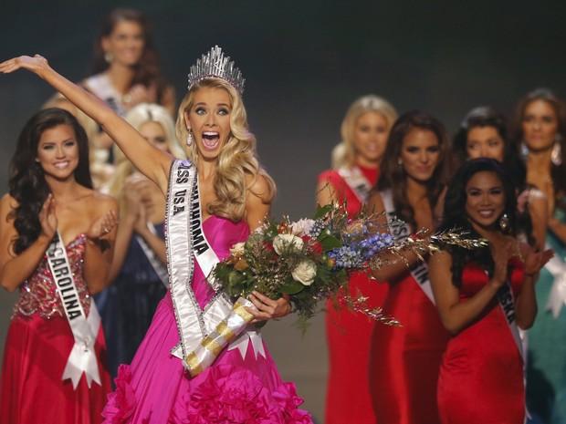 Olivia Jordan, representante de Oklahoma, é eleita Miss Estados Unidos 2015 em Baton Rouge, na Louisiana (Foto: Adrees Latif/ Reuters)