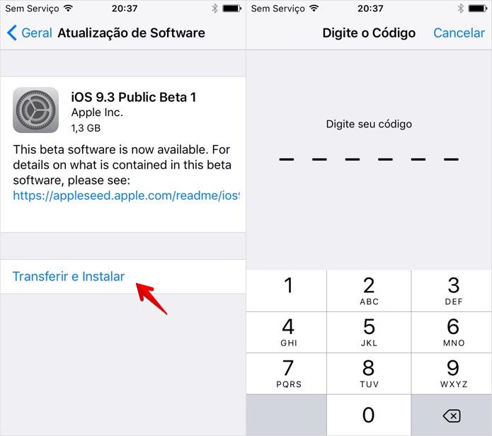 Baixando o iOS 9.3 beta (Foto: Reprodução/Helito Bijora)