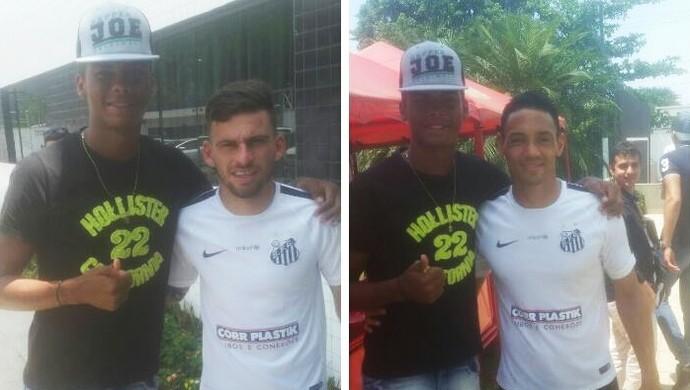 Marcinho com Ricardo Oliveira e Lucas Lima (Foto: Arquivo Pessoal)