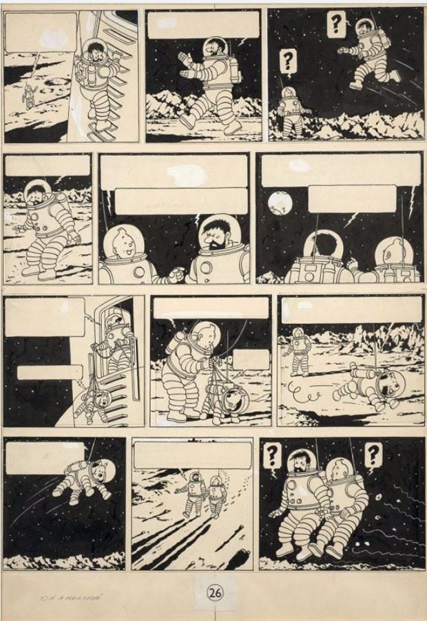 """Prancha original de álbum """"On a marché sur la lune"""" (""""Explorando a Lua""""), da série de história em quadrinhos """"As aventuras de Tintim"""", criada pelo belga Hergé, vendida neste sábado (19) por R$ 5,5 milhões em um leilão em Paris (Foto: Divulgação/Artcurial)"""