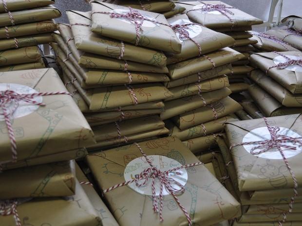 Kits preparados para serem enviados para os assinantes. (Foto: Lúcia Ribeiro/G1)