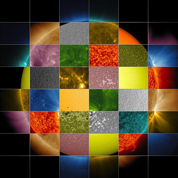 Sol é visto em diferentes comprimentos de onda (Foto:  Nasa/SDO/Goddard Space Flight Center)