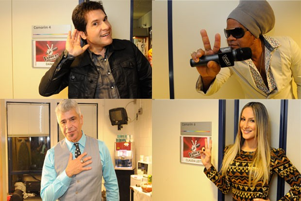 Daniel, Carlinhos Brown, Lulu Santos e Claudia Leitte nos bastidores do The Voice Brasil (Foto: The Voice Brasil / TV Globo)