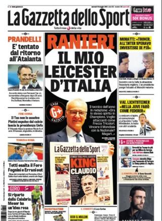 Ranieri capa Gazzetta dello Sport (Foto: Reprodução / Twitter)