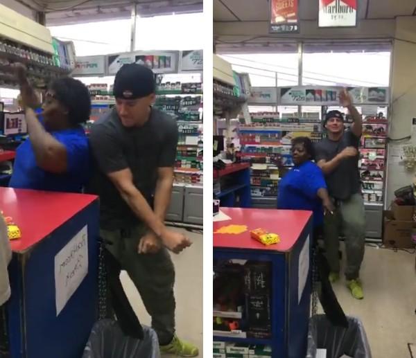 O ator Channing Tatum dançando com a funcionária do posto de gasolina (Foto: Facebook)