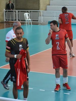 Serginho e Marcelinho Sesi-SP amistoso Japão (Foto: Cairo Barros)