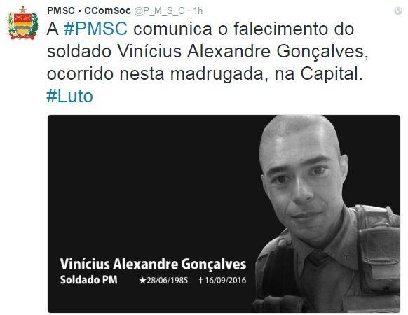 Vinícius Alexandre morreu na madrugada desta sexta-feira (16) (Foto: Reprodução/Twitter)