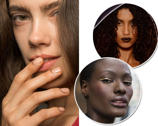 O glitter apareceu nas unhas, olhos e lábios na NYFW (Foto: Getty Images/Imaxtree)