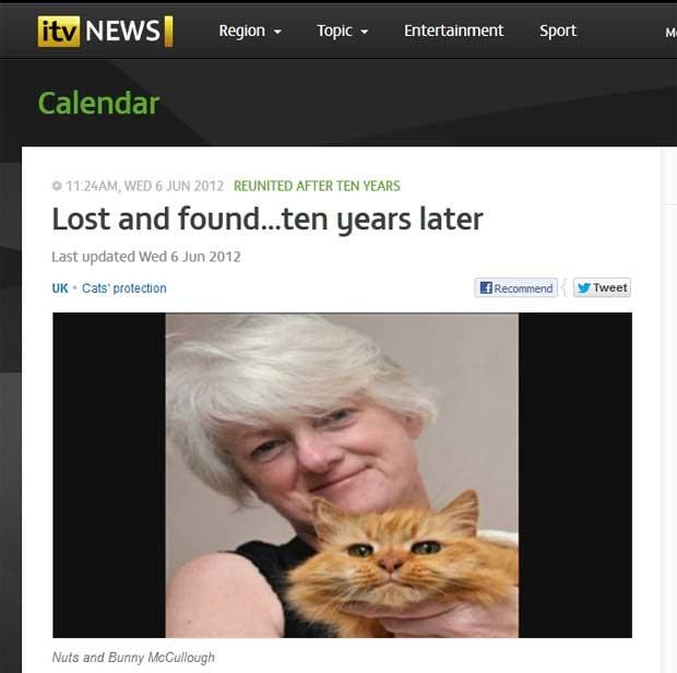 Bunny McCullough com seu gato de estimação 'Nuts'. (Foto: Reprodução)