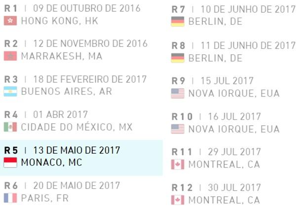 Calendário Fórmula E #2017 (Foto: Divulgação/FIA Formula E)