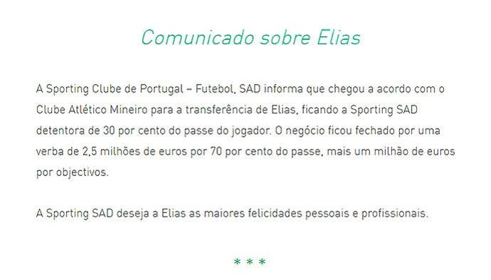 Sporting Lisboa detalha venda de Elias ao Atlético-MG em site oficial (Foto: Reprodução/Site do Sporting)