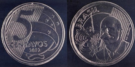 Moedas que deveriam ser de 50 centavos, têm a inscrição 5 centavos (Foto: Divulgação/Banco Central)