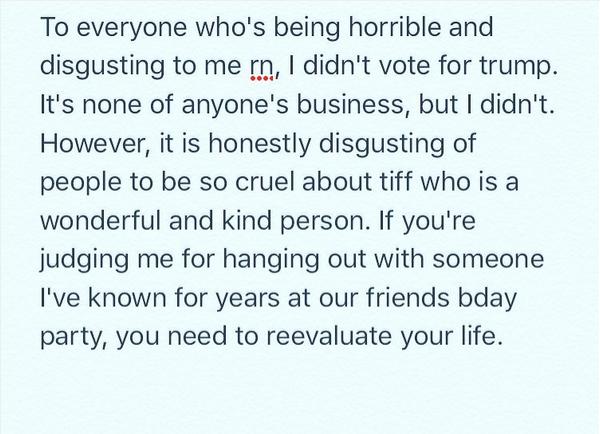 A mensagem publicada por Abigail Breslin em defesa de sua amiga, Tiffany Trump (Foto: Instagram)