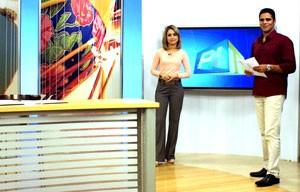 Apresentadora do Piauí TV 1ª Edição, Aline Moreira, e Helder Vilela comentam as opções de lazer no Piauí (Foto: Katylenin França/TV Clube)