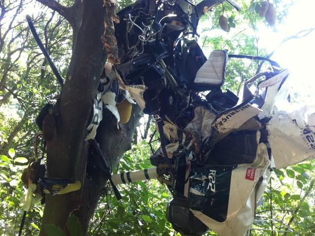 Helicóptero ficou totalmente destruído e e com pedações presos nas árvores (Foto: Janaína Carvalho/G1)