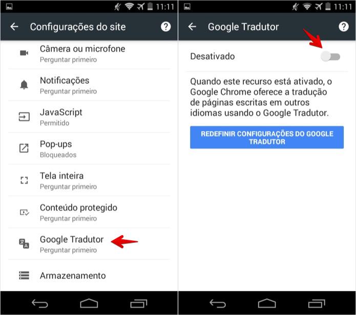 Desativando ferramenta de tradução do Chrome (Foto: Reprodução/Helito Bijora)