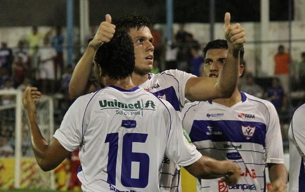 Danilo Galvão, aos 48 minutos, deu a vitória ao time de Marabá (Foto: Antônio Cícero/Colaborativo)
