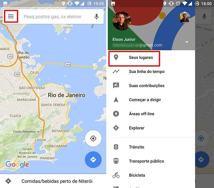 Usuário precisa acessar Seus lugares para ver eventos do Google Agenda (Foto: Reprodução/Elson de Souza)